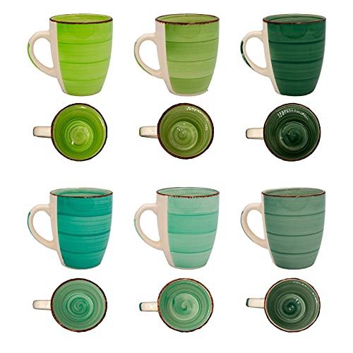 DRULINE 6er Green Baita Kaffeetasse grüner Landhausstil I 350 ml I Tee-Pott I Rustikale Optik I Kaffeebecher