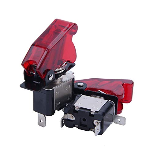 Fransande 2Pc - Interruptor de balancín de Del, color rojo SPST ON/OFF, 12 V, 20 A, con tapa de seguridad
