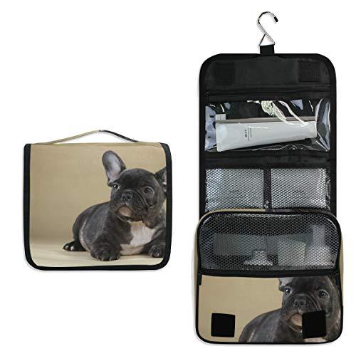 Kulturtasche für Damen und Mädchen, französische Bulldogge, zum Aufhängen, Kosmetiktasche, multifunktional, tragbar, Schwarz