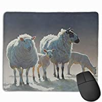 マウスパッド 羊プリント 光学式マウス対応 おしゃれ 滑り止め 防水 耐洗い表面 オフィス用 家庭用 30*25CM