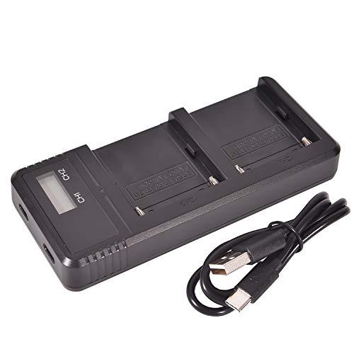 DSTE Fast Charging Dual LCD Batería Cargador para Sony NP-FM55H NP-FM50 NP-FM30 NP-FM51 NP-QM50 NP-F330 NP-F550 NP-F570 NP-F750 NP-F770 NP-F930 NP-F950 NP-F970 NP-FM500H NP-QM71D NP-FM70 NP-QM91D