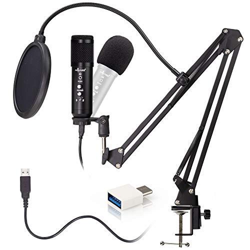 Arikaree Microfono per Pc Microfono USB e USB Type C, Streaming, Podcasting, Youtube, Voice Over, Skype, Twitch, Professionale Microfono a Condensatore Supporto Asta Regolabile