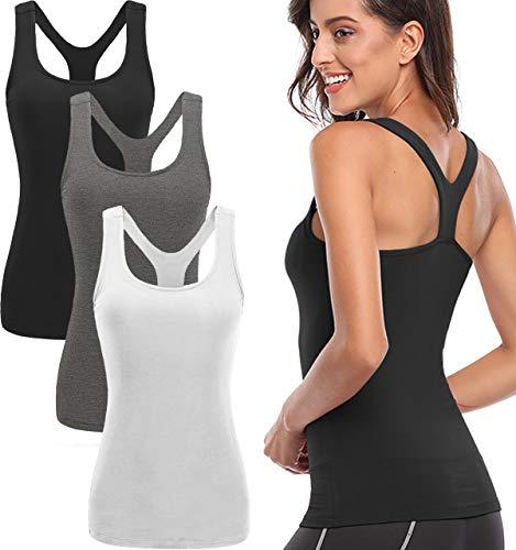 TELALEO Tank Tops for Women, Womens V-Shape Workout Tank Tops Clothes for Women Yoga Basic Running 3 Pack Black/Gray/White Medium