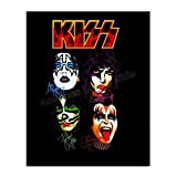 'Faces' Kiss Band- Autograph Wall Print-8 x 10' Wall Print-Ready to Frame. Legendary Rock Band- Signed Decor. Home-Office-Studio-Bar-Dorm-Man Cave Decor. Perfect Addition to Kiss Fan Collections.