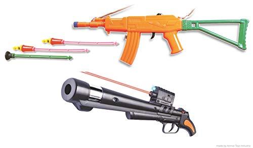 anmol toys - diwali guns ( trishul 3 in 1 roll cap gun) + 9secret agent - heavy with led light - roll cap gun)-Multi color