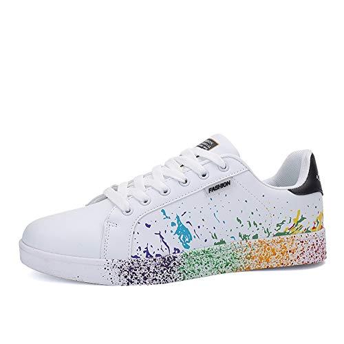 JEDVOO Homme Femme Sneaker Low Top Turnschuhe Sportschuhe Freizeitschuhe Bunte Stoffschuhe(XCX800Black40)