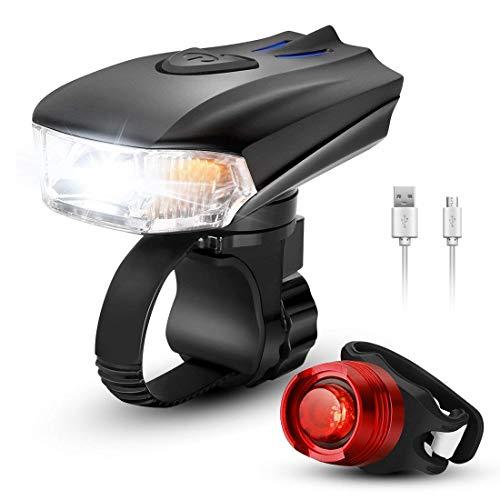 BeiLan USB oplaadbare fietsverlichtingsset, krachtige LED-fietskoplamp en achterlicht, super helder voor- en achterlicht, waterdichte fietsverlichting voor weg- en mountainbikes