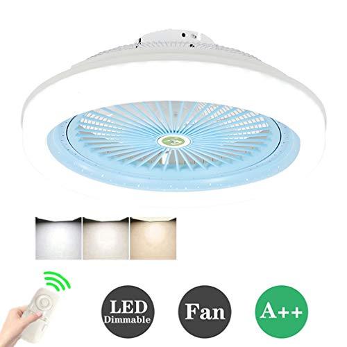 HKLY Ventilador de Techo LED Lámpara, Creative 80W Regulable Ventilador de Techo Invisible Luz de Techo Control Remoto Tiempo Ventilador Luz para Sala De Estar Dormitorio Habitación Infantil, 80W,Azul