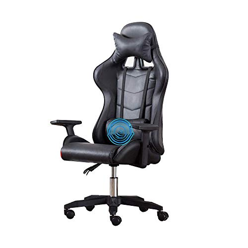 N/Z Daily Equipment Chair High Back Pu Leather Gaming Desk Chair Reclining Ergonomic Racing Office Chair with Headrest And Massage Lumbar Pillow all Black