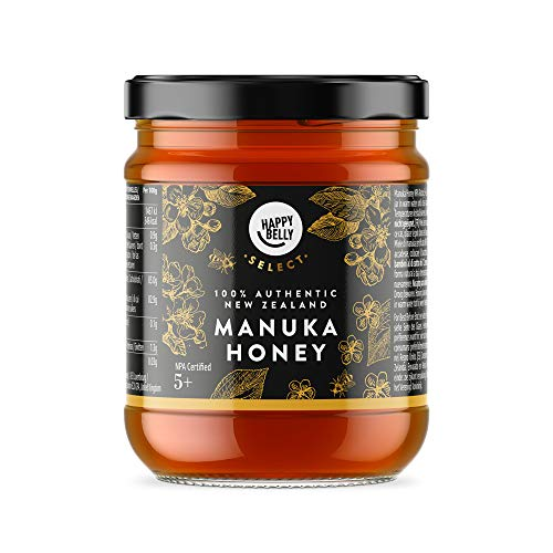 Marca Amazon - Happy Belly Select Miel de manuka 5+, 340gr - MGO 83