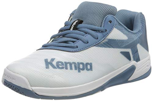Kempa Unisex Wing 2.0 JUNIOR Handballschuhe, Mehrfarbig (Weiß/Steel Blau 04), 36 EU