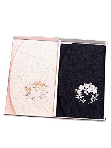 ちりめん桜刺繍ふくさ 2枚セット 紙箱入 慶弔両用袱紗 結婚式 冠婚葬祭 男性用 女性用 日本製 (桜)