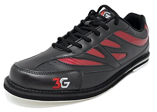 Bowling-Schuhe, 3G Cruze, Damen und Herren, für Rechts- und Linkshänder, 2 Farben, Schuhgröße 36-46 (43,5, Schwarz/Rot)