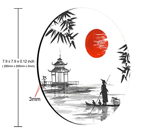 Amcove Japan Traditional Japanese Painting Sumi-e Bamboo Art Man with Boat Mouse Pad,Anti Slip Rubber Round Mousepads Desktop Notebook Mouse Mat for Working and Gaming Photo #2