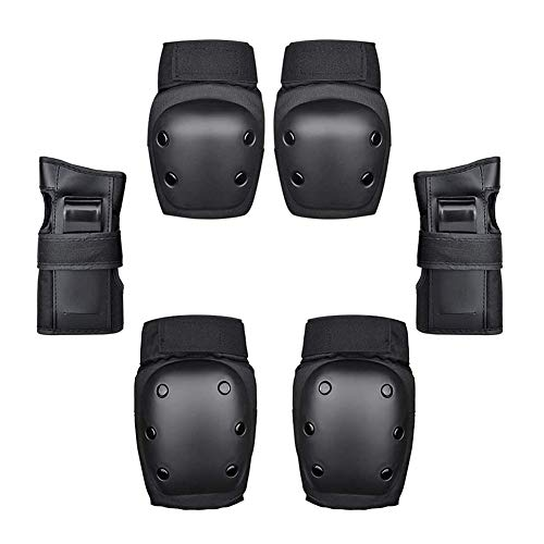 YYDZ 6 Piece Protective Gear with Knee Pads Wrist Support Cycling Xx (Color : Black)