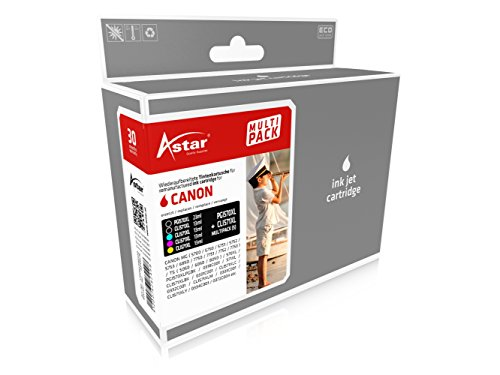 Astar AS45575 Multi-Pack (Schwarz, Gelb, Magenta, Cyan) nachgefüllt Tintenpatronen Pack of 5
