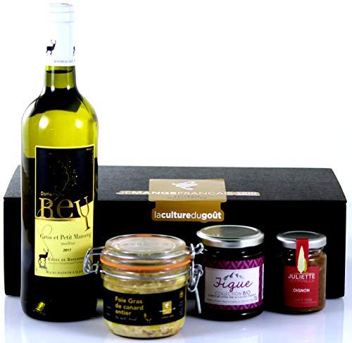 Cesta Regalo Gourmet con excelentes productos Franceses incluido 1 Foie Gras de canard - Presentación cuidada en una elegante caja negra