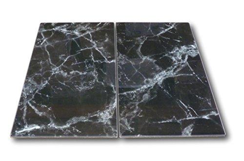 2 x Glas Herdabdeckplatte Herdabdeckung Schneidebrett Abdeckplatte Ceranfeld Design Marmor schwarz