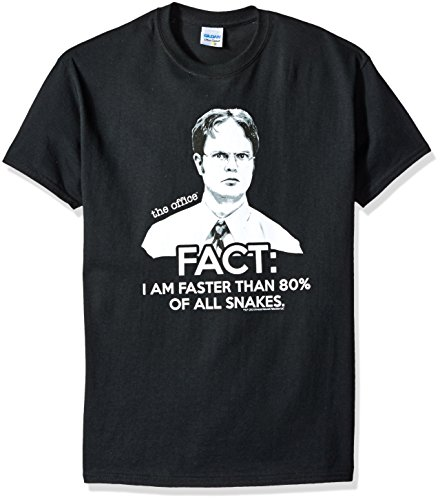 T-Line The Office TV Show Dwight Fact Faster Than Snakes Men's T-shirt , Black, Small