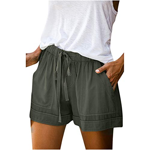 SSMENG Women Comfy Drawstring Casual Elastic Waist Cotton Shorts with Pockets,Workout Short Pants,Womens Shorts Casual S-5XL Green