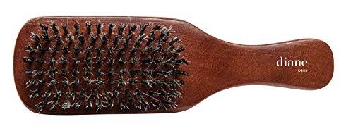 Diane Premium Boar Bristle Brush for Men – Double Sided, Medium and Firm Bristles for Thick Coarse Hair – Use for Smoothing, Wave Styles, Soft on Scalp, Club Handle, D8115