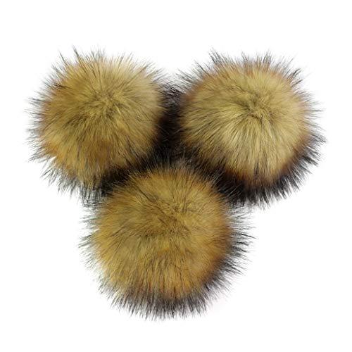 PHILSP Fluffy Ball DIY künstliche Nerzpelz Fluffy Pompom Ball einfarbig zum Stricken Hut Schuhe Schals Tasche Handtasche Charms Ornament L # Braun 1# 8cm