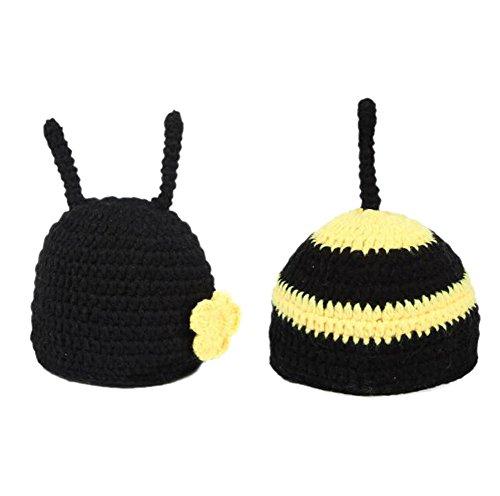 DELEY Unisex Bambino Fiore all'Uncinetto Honey Bee Costume Neonato Vestiti del Vestito Foto Puntelli 0-6 Mesi
