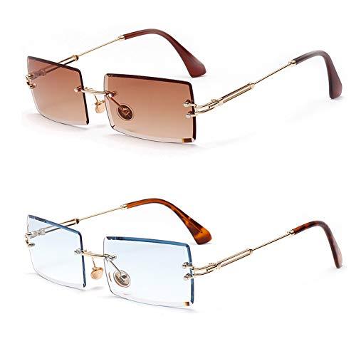 2PCS Occhiali da sole ovali con montatura ultra piccola per donna Uomo Rectangle Retro occhiali da sole senza montatura con lenti trasparenti