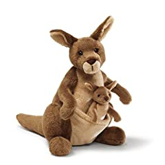 Kangaroo plush with functional pouch holding removable 4.5 inch baby kangaroo Soft, huggable material built to famous GUND quality standards Surface-washable Ages 1+ 10 inch height (25.5 cm)