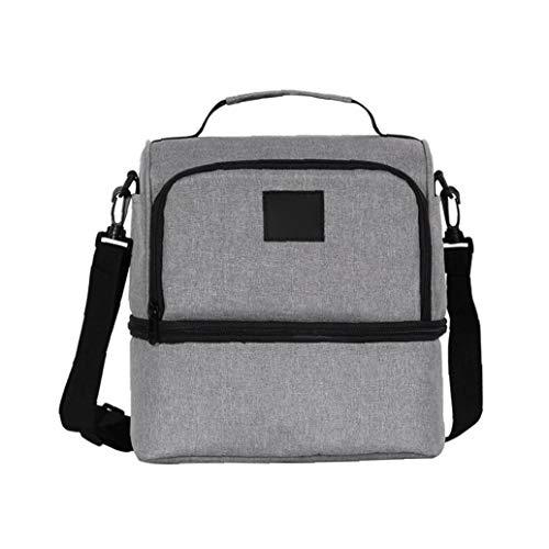 JRXyDfxn Lunch Bag Wiederverwendbare Isolierkühlvorrichtung Lunch Box Organizer mit verstellbarem Schultergurt Picknick Kühl Umhängetasche Grau