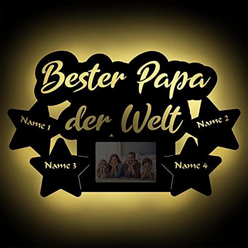 Wir lieben dich allerbester Papa Led Holz Bilderrahmen Wand-Lampe beleuchtet Vatertagsgeschenk Vatertag Geschenk personalisiert mit Namen I Batteriebetrieb