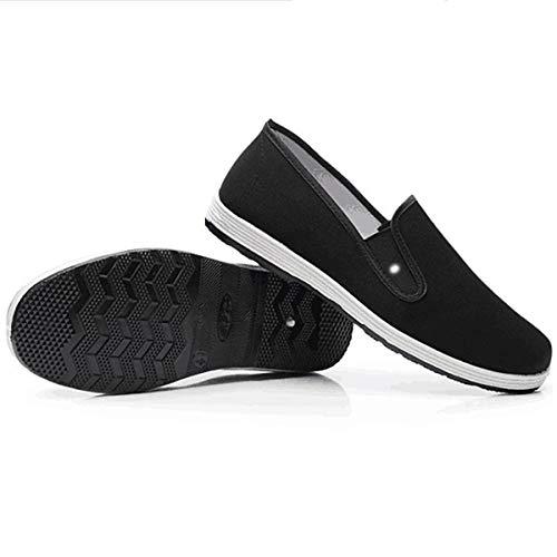 Zapatos Chinos Tradicionales de Kung Fu, Zapatos de Tela Antideslizantes Antiguos de Beijing, Zapatos de Tai Chi de Lona Transpirable con Suela de Goma Melaleuca, (Negro, EU44.5)