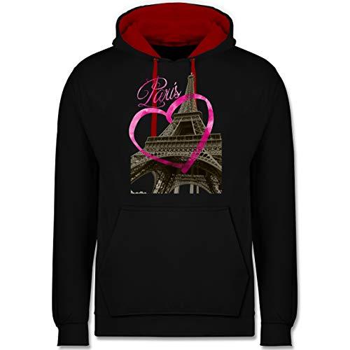 Shirtracer Städte - I Love Paris - S - Schwarz/Rot - Hoodie Paris - JH003 - Hoodie zweifarbig und Kapuzenpullover für Herren und Damen