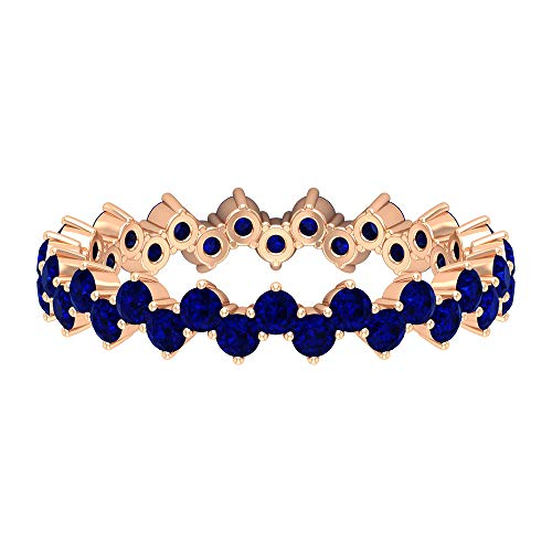 2.00 MM Lab Created Blue Sapphire Band, Full Eternity Band Ring, Zig Zag Band, Gold Wedding Band Ring (AAAA Quality), 14K Rose Gold, Size:UK -1