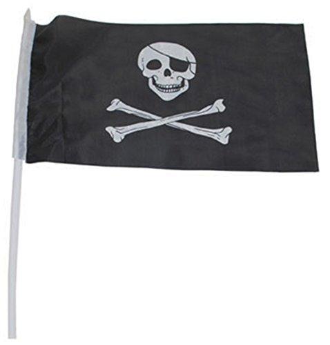 Party Palast - Party Dekoration- Piraten Fahne Totenkopf Geburtstag 1 Stück, 30 x 45cm, Schwarz