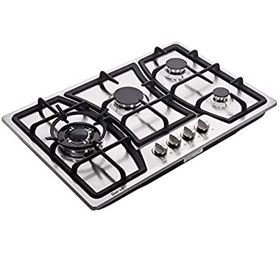 Deli-kit 30 Inch Gas Cooktop Dual Fuel Sealed 4 Burners Stainless Steel Gas Cooktop Gas Hob DK247-A01 Gas Cooker