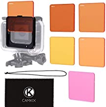 CamKix Diving Filter Kit Compatible with GoPro Hero 6/5 Black - 5 Filters (3X Red, 1x Magenta, 1x Yellow) - for use with Waterproof housing(Super Suit)