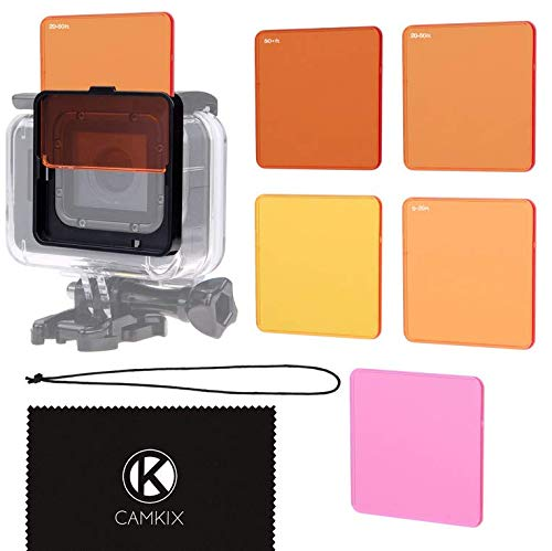 CamKix Juego de Filtro de Lentes de Buceo Compatible con GoPro Hero 6/5 Camara - Mejora Colores para Varios Videos submarinos y Condiciones de Fotografia - Uso con Carcasa Impermeable (Super Suit)
