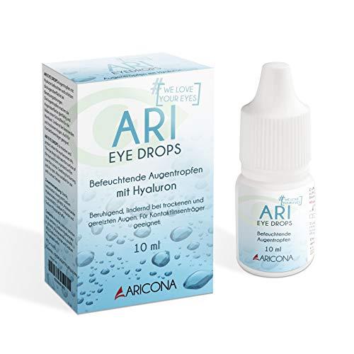 ARI EYE DROPS Augentropfen - 10ml Hyaluron Augentropfen gegen trockene Augen - feuchtigkeitsspendend und beruhigend