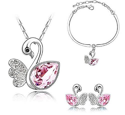 LUIDILUC Juego de collar y pendientes con diseño de cisne Rosa