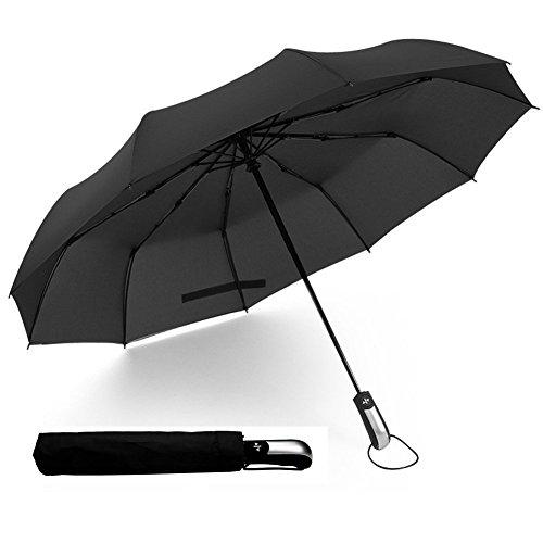 Regenschirm Herren Taschenschirm Automatik, Wasserabweisende Teflon-Beschichtung, Klein, Leicht & Kompakt-Stabiler Schirm mit Voll-Automatischer, Windsicher Bis 140km/h, 105cm (Schwarz) by Jr.Hagrid
