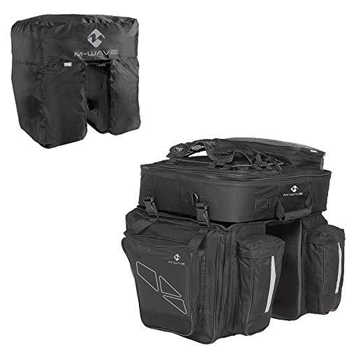 M-Wave Unisex– Erwachsene Amsterdam Triple Gepäckträgertasche inkl. Regenhaube, schwarz