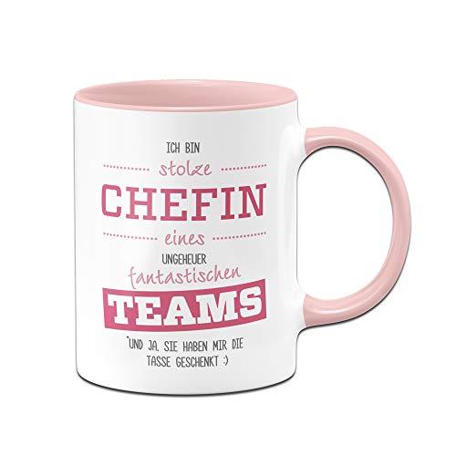 Tassenbrennerei Tasse mit Spruch Stolze Chefin eines fantastischen Teams - lustige Geschenke für Chefin - Chef Kaffeetasse