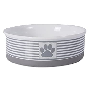 Bone Dry DII Paw Patch & Stripes Ceramic Pet Bowl for Food & Water with Non-Skid Silicone Rim for Dogs and Cats (Large - 7.5  Dia x 4  H) Gray