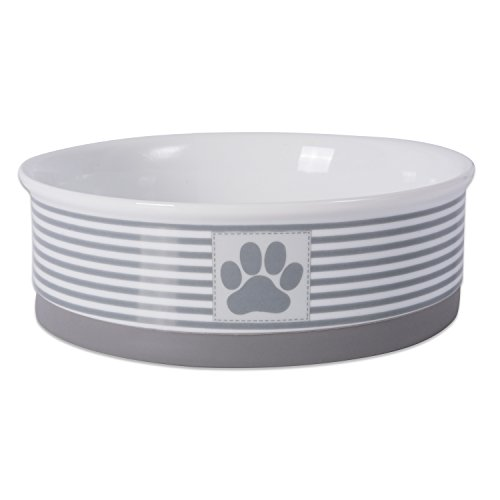 Big Save! DII Bone Dry Paw Patch & Stripes Ceramic Pet Bowl for Food & Water with Non-Skid Silicone ...