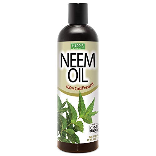 Harris Neem Oil, 100% Cold Pressed and Unrefined for Plants, Skin and Hair, 12oz Cosmetic Grade