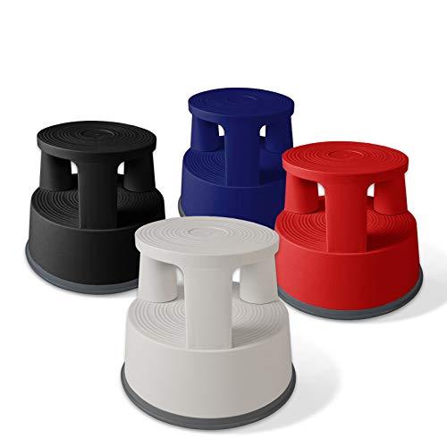 Sgabello con Ruote a Scomparsa - Scalino, Scaletta Design in Polipropilene con Base Antiscivolo in Gomma - capacità di carico 150 kg, in 4 Colori - Rosso