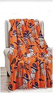 "HDG Soft Plush Winter Christmas Halloween and Holiday Throw Blanket - 50"" X 60"" - Great Gift 7 (Halloween Cats)"