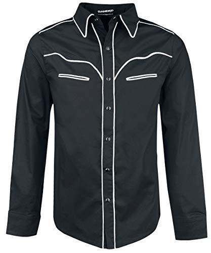 Banned Alternative Plain Trim Männer Langarmhemd schwarz/weiß M
