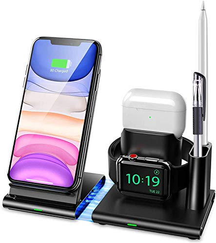 Wireless Charger, Wireless Charging Station Stand 4 in 1 Magnetic Detachable Charging Dock for Airpods Pro 3/2/1, iWatch 5/4/3/2/1, iPhone 11/11 Pro Max/XR/XS Max/XS/X/8/8P